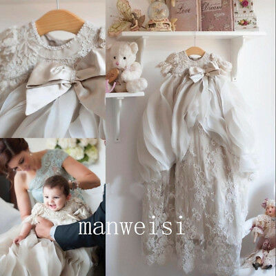 Luxury Christening Dresses Lace Antique Infant Infant New Baby Long Baptism Gown