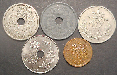Denmark 1924 , 1942 , 1954 1973 1991 25 Ore inc Better all different  Coins (5)