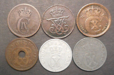 Denmark 1874 , 1912 , 1915 , 1929 , 1941 , 1943  2 Ore all different  Coins (6)