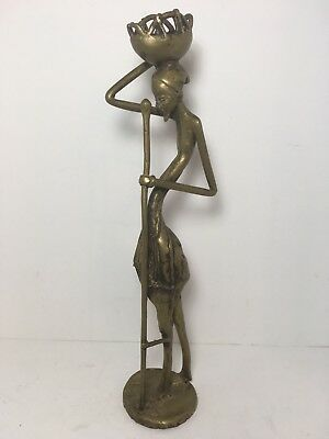 """Vintage Handcrafted Brass Statue African Tribal Woman Basket 14"""" Home Decor"""