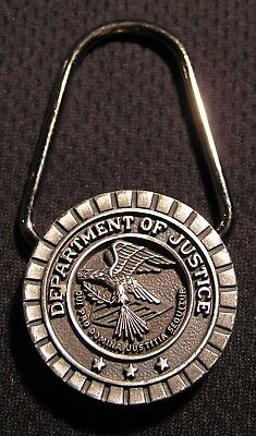 VINTAGE DEPARTMENT OF JUSTICE DOJ KEYCHAIN - Key Chain Fob - NOS - NICE!