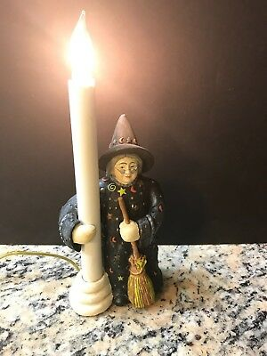 """Cresswell Collectibles Halloween Wicked Witch & Broom Night Light Lamp 11"""" Tall"""
