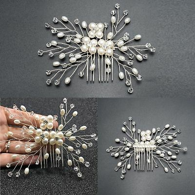 New Bridal Wedding Cryatsl Flower Pearls Hair Comb Clip Diamante Rhinestone Hot