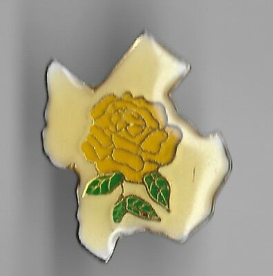 Vintage Yellow Rose on State of Texas background old enamel Pin