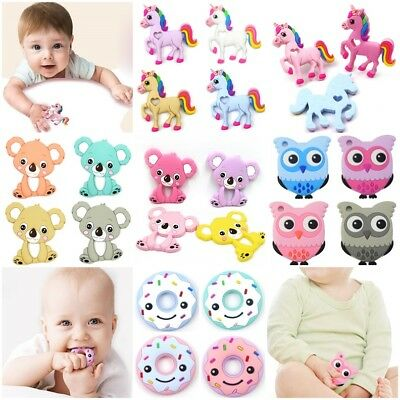 Silicone Animals Baby Teether Teething Pendant Necklace BPA Chew Toy BPA Free x1