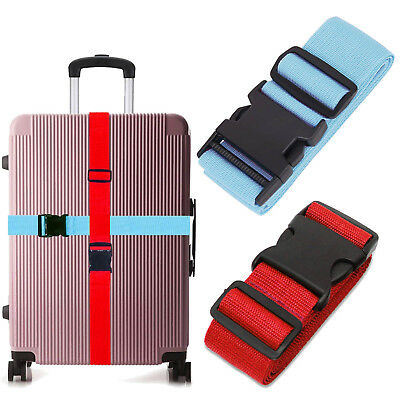 1X 2X 4X Luggage  Adjustable Travel Straps for Suitcase Luggage 2M (Red&Blue)