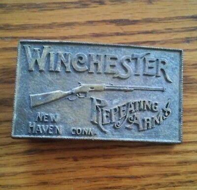000 Vintage Brass Winchester Repeating Arms New HAven Cnn Belt Buckle