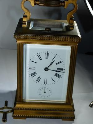 Antique Bronze Grand Sonnerie Carriage Clock 8.5 inches Alarm key works well
