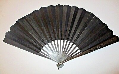 Antique Black Silk Japanese Fan with Carved Wood End Sticks Mourning Folding Fan