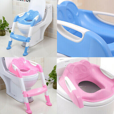 Baby Girls Boys Potty Training Step LADDER Toilet Seat  - Ladder Blue Pink