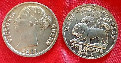 Victoria Queen 1841 East India Company One Mohur Silver Plated Coin