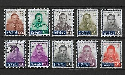 INDONESIA 1966 Victims of Attempted Communist Coup, Martyrs, set of 10, used