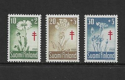 FINLAND 1959 Tuberculosis Relief Fund, Flowers, mint set of 3, MNH MUH