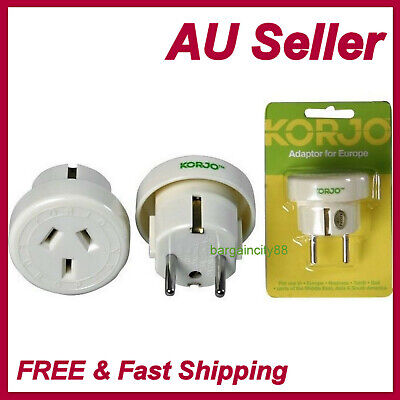 Korjo Travel Plug Adapter Adaptor Charger For Europe From Australia &New Zealand