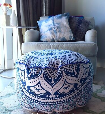 Indian Pretty Ombre Mandala Ottoman Pouffe Foot Stool Pouf Round Floor Pouf