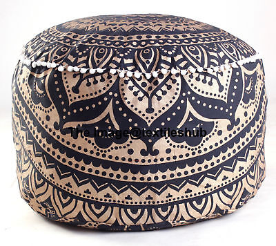 Indian New Black & Gold Ombre Mandala Ottoman Pouf Footstool Round Floor Pouf