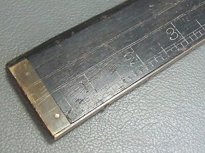 "Vintage unusual 24"" ebony & brass straight rule ruler"