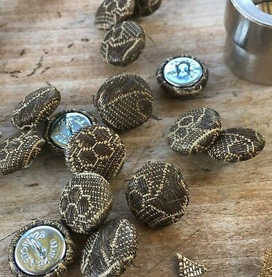 Sets of Silver Metallic Buttons w/Bronze Patina Linen Base French