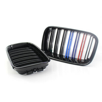 Gloss Black Mix-Color Double Slat Front Grille Fit for BMW E36 1992-1996 Grill