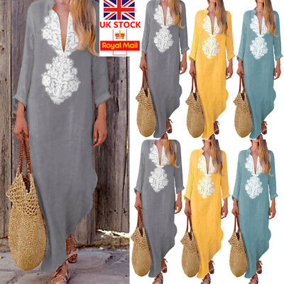 Women Floral Long Sleeve Cotton Linen Kaftan Maxi Dress Casual Loose Long Dress