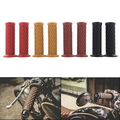"New 7/8"" 22mm Rubber Handlebar Hand Grips Bar End For Motorcycle Bike Cafe Racer"