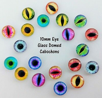 10mm Eye Pupil Cabochons Glass Dome - Dragon Monster Cat Animal Eyes FBC133