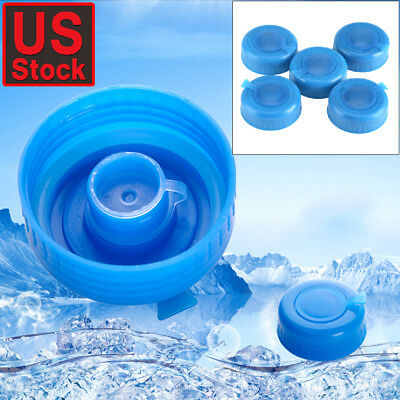 0a240d681f7 5 Pcs Non Spill Water Cap Gallon Jug Bottle Caps Reusable Blue Lid Drinking  New