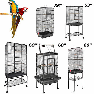 "36''/60""Large Bird Cage Play Top Parrot Finch Cage Macaw Cockatoo Pet House"