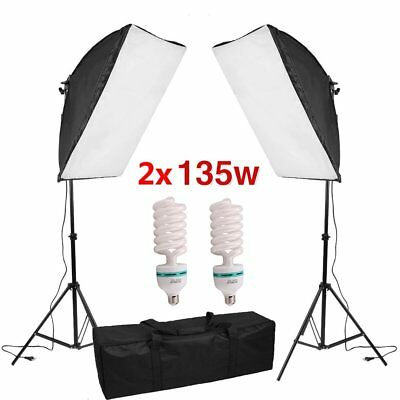 2X Studioleuchte 270W Fotostudio Set Hintergrundsystem Lampe Softbox LED STATIV