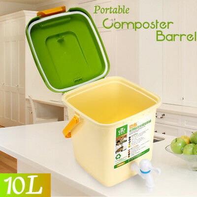 AU STOCK 10L Recycle Composter Barrel Compost Bin Kitchen Bucket For Food Waste