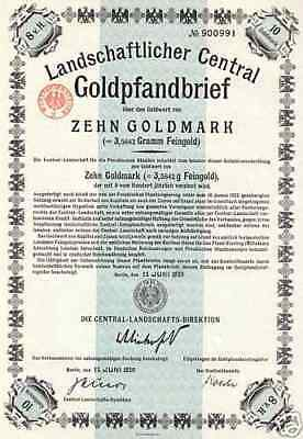Gold Pfandbriefe Central Landschafts Dir. Berlin Bank Anleihe 1925 - 29 1931 44