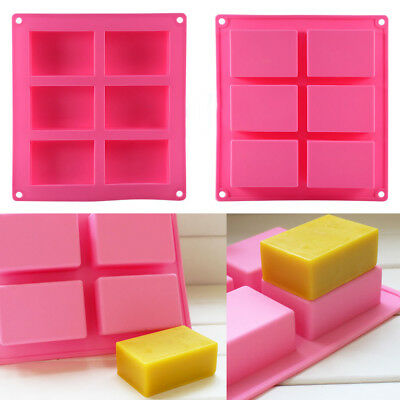 KD_ 1 Pc 6-Cavity Plain Rectangle Soap Mold Silicone DIY Cake Making Mould Cool