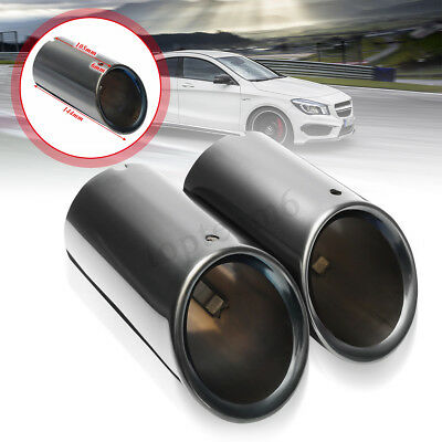 Pair Black Stainless Steel Exhaust Muffler Rear Tail Pipe Tips For Audi A4 B8 Q5