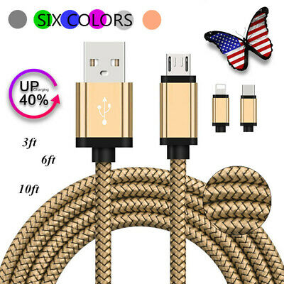 US Seller Braided Micro USB/Type C/Lightning Fast Charger Data Sync Cable Cord