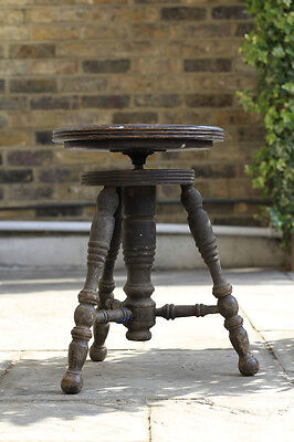 Vintage Industrial Antique Wooden Swivel Piano Artist Seat Chair Stool