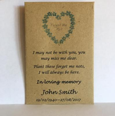 50 Personalised Funeral Favours Seed Packets Forget Me Not & Poem NO SEEDS