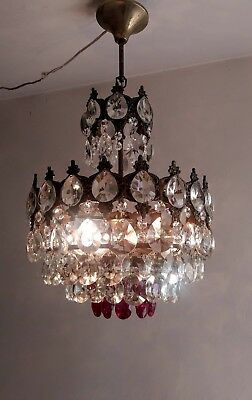 Vintage Brass Red Crystal Chandelier LED Basket Ceiling Wedding  Light Fixture