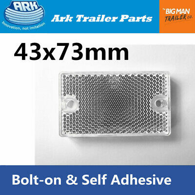 1 White Clear Reflector 43x73mm Self Adhesive Bolt on for Trailer Caravan Camper