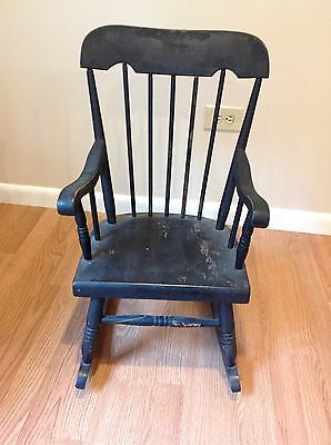 Cool Vintage Wooden Child Size Rocking Chair Sturdy Wood Wooden Creativecarmelina Interior Chair Design Creativecarmelinacom