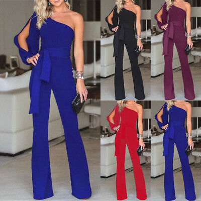 UK Womens One Shoulder Belt Jumpsuit Ladies Evening Party Playsuit Wide Leg Pant