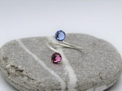 Silver Plated Toe/Knuckle Ring with Rose/L.Sapphire Swarovski Crystals Elements
