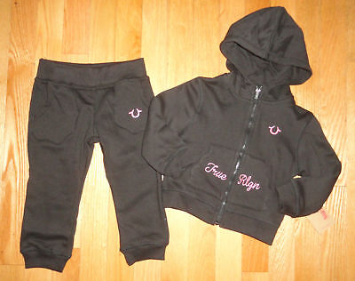 440ad9e6f True Religion Girls Hoodie Sweatshirt Pants Set Black Baby Toddler 12M 18M  24M
