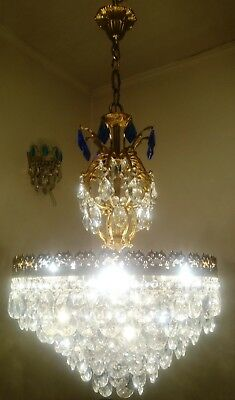 Vintage Brass Aqua Crystal Chandelier LED Basket Ceiling Wedding  Light Fixture