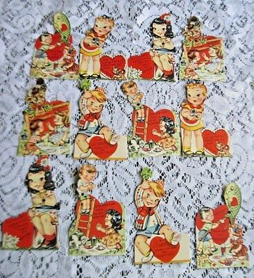 Lot of 12 Cute Vtg Kids Mechanical Valentines~1940s~Unused Great Condition