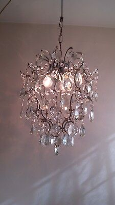 Vintage Brass Silver Crystal Chandelier Ceiling Light Fixture Wedding Lighting