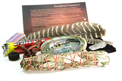 White and Black Sage Mix Smudge Stick Kit Abalone Charcoal Stand Feathers Quartz