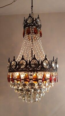 Vintage Brass honey-colored Crystal Chandelier LED Basket Ceiling Light Fixture