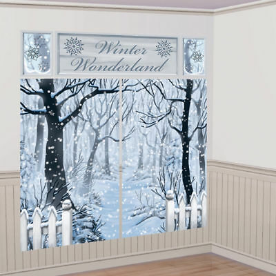 Christmas Winter Wonderland Large Scene Setter Room Decoration Frozen Backdrop