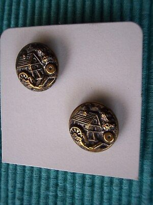 2 Rare  Brass Picture Buttons  - Old Mill - Late 1800's