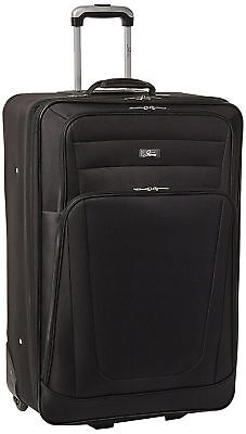 """Skyway Luggage Mirage 28"""" 4 Wheel Expandable Carry On Spinner Suitcase Black"""